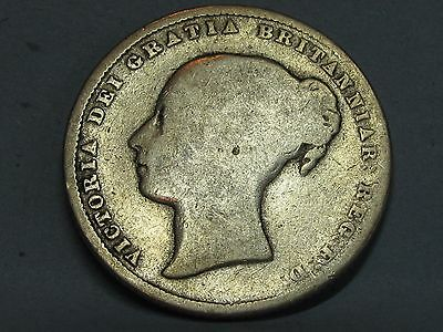 Victorian **young Head** Silver Shilling Coin Dated 1865 **die 54**