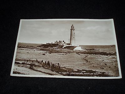 WHITLEY BAY St MARY`S LIGHTHOUSE OLD B&W POSTCARD by VALENTINES UNPOSTED ..