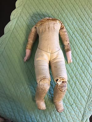 "Antique Kid Leather 11"" Gusseted Doll Body w Bisque Arms"