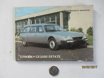 Citreon Cx 2000 Estate---Owners Manual---1976