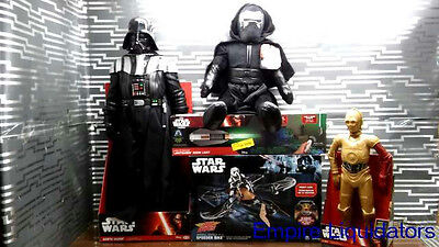 "Star Wars Lot - Speed Bike Drone - 31"" Darth Vader Figure -Lightsaber Room Light"
