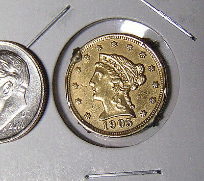 1905 Liberty $2.50 Gold Quarter Eagle Fancy Engraved Reverse Love Token