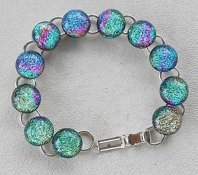 "fused 7.25""  dichroic glass bracelet hand made crafted"