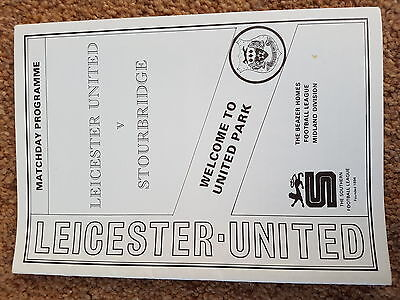 Football Programme 91-2 Leicester United Defunct Club V Stourbridge