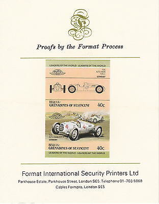 Bequia (2135) - 1984 Cars #1 Auto Union imperf on Format Int PROOF  CARD