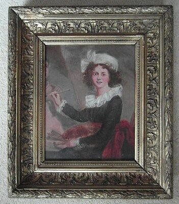 Victorian Gilt Framed Antique Portrait Oil Painting of a Female Artist at Work