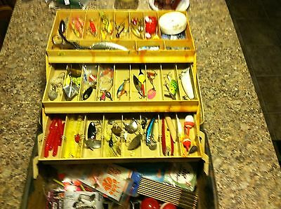 Big Old Vintage Plano Fishing Tackle Box Full Of Mixed Old Lures Lot And Gear