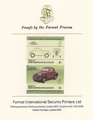 Bequia (2145) - 1985 Cars #3 Fiat  imperf on Format Int PROOF  CARD