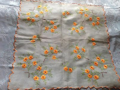 Beautiful Vintage Hand-Embroidered Cambric Tablecloth