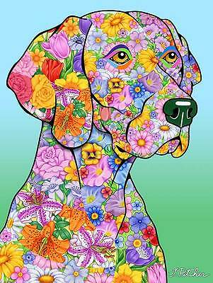 Large Indoor/Outdoor Flowers (TP) Flag - Weimaraner 96057