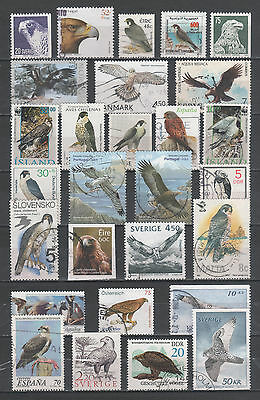 "R/us17092, LOT OF 28 USED STAMPS OF THEMA FAUNA ""BIRDS OF PREY"", ALL DIFFERENT"