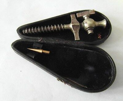 RARE Cased Victorian Antique Champagne Corkscrew