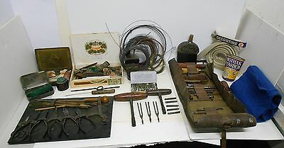Vintage Antique Piano Tuning Tools Kit & Parts Accessories With Old Case
