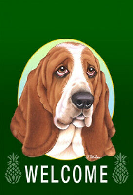 Garden Indoor/Outdoor Welcome Flag (Green) - Basset Hound 740211