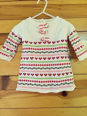 *JANIE AND JACK* Girls GINGERBREAD SPICE Heart Sweater Dress Size 3-6 Months