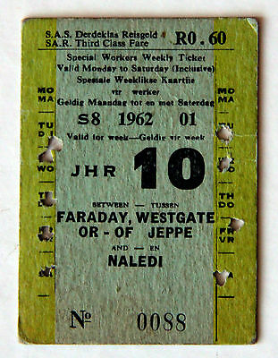 South African Railways - Special Workers Weekly Ticket 1962