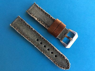 Uhrband In the Army now Canvas/Leder 22mm Khaki Ersatzband Strap Band