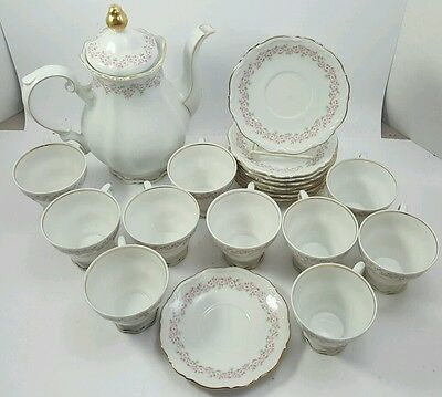 MITTERTEICH LADY BEATRICE Tea Coffee Pot with Set of 10 Tall Cups And Saucers