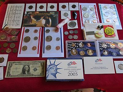 OLD Vtg. US COINS  LOT SILVER COINS 1935  BANK NOTE JEWELRY MORE NO RESERVE #52