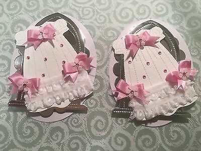Baby Girl Christening Dress Card Toppers Edged With Lace