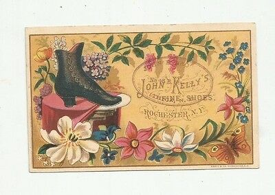 Kelly's Rochester High Button Shoe Victorian Trade Card John Brown Ithica NY