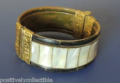 Antique Vintage Art Deco India Inlaid Abalone Brass Tube Hinged Cuff Bracelet