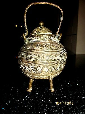 Antique Bronze Incense Bowl   North African On Legs Stunning