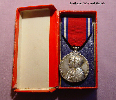 1935 OFFICIAL KING GEORGE V SILVER JUBILEE MEDAL - Full Size Original Boxed