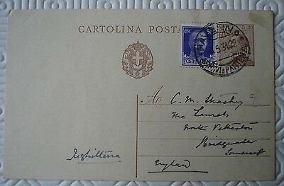 Old Italy postcard to Bridgewater, Somerset with printed + 50c stamp (1931)