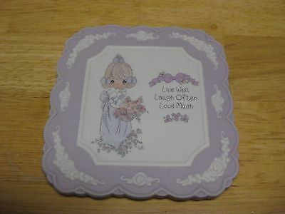 """1994 Precious Moments Lavender Wall Plaque """"Live Well Laugh Often Love Much"""""""