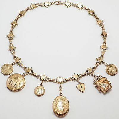 Victorian Bookchain Gold Filled With Collection Of Antique Lockets