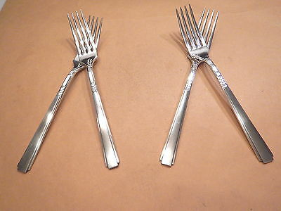 4 Capri Dinner Forks-Great 1935 Rogers Style-Clean & Table Ready!