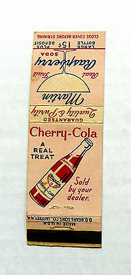 "Rare 1950 ""cherry-Cola ~ A Real Treat"" Soda Matchbook"