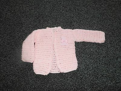 Baby Girl's Pink Hand Crochet Jacket 0-3 Mths