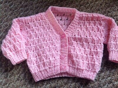 Girls Hand Knitted Pink Cardigan, 0-3 Months