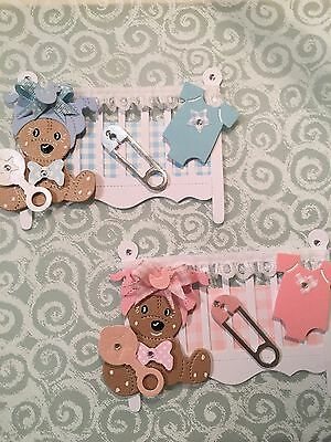 Baby Girl And Boy Cot Card Toppers Edged With Lace