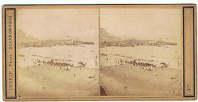 Stereoview - Beach At Scarborough By Inskip