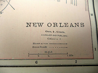 Antique 1891 Geo Cram Color City Map With Street Names Cincinnati or New Orleans