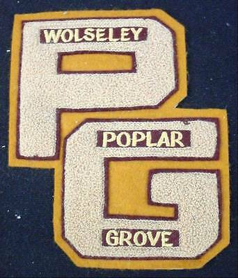 Large Vintage Jacket Patch WOLSELEY POPLAR GROVE PG Embroidered