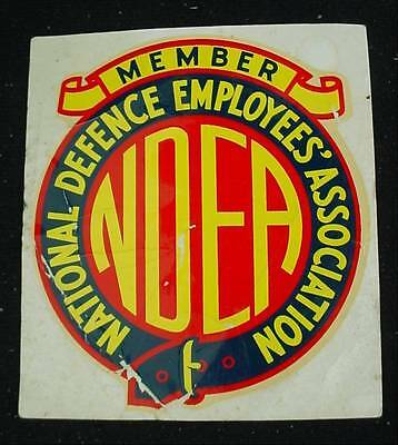 Vintage Decal Sticker NDEA Member NATIONAL DEFENCE EMPLOYEES ASSOCIATION