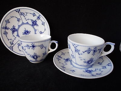 Two 1950S Blue &white Lace Royal Copenhagen Demi-Tasse Cups And Saucers