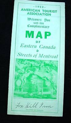 1952 American Tourist Association Map Of Eastern Canada & Streets of Montreal