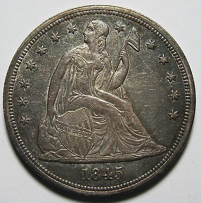 1845 Seated Silver Liberty Dollar $1 Coin Lot# MZ 1317