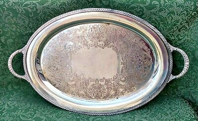 "Antique 1847 William Wm Rogers 22"" Silverplate Waiter Butler Serving Tray 4082"