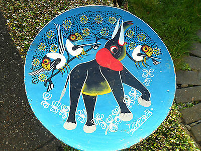 RARE African Milking STOOL VINTAGE  - Painting By Artist MWANACHE-Elephant