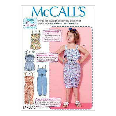 MCCALL\'S SEWING PATTERN CHILDRENS\' / GIRLS\' ROMPER & JUMPSUIT SIZE 2 ...
