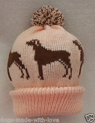DOBERMAN BROWN dog NEW Knitted PEACH Adult size beanie pompom bobble HAT