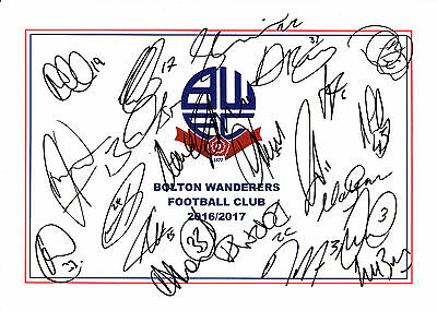 BOLTON WANDERER'S FC, 2016/17 SUPERB SIGNED A4 CARD SHEET BY 21 IN TOTAL,(a)
