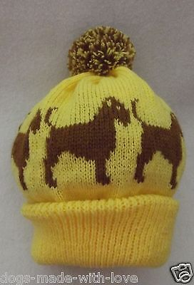 BORDER TERRIER dog  Knitted YELLOW beanie pompom bobble ADULT size HAT
