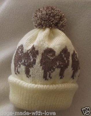CHOW CHOW on CREAM Knitted beanie pompom bobble ADULT size